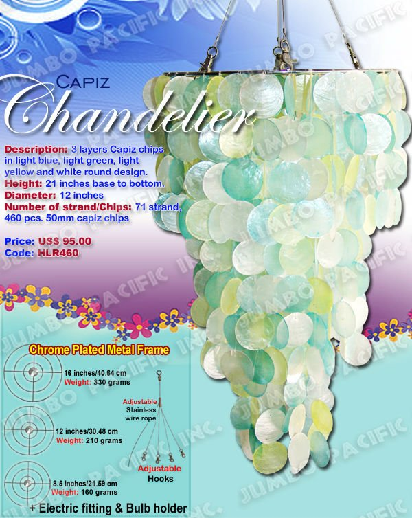 Capiz Chandelier in 3 layer capiz chips in light blue,light green,light yellow and white round design