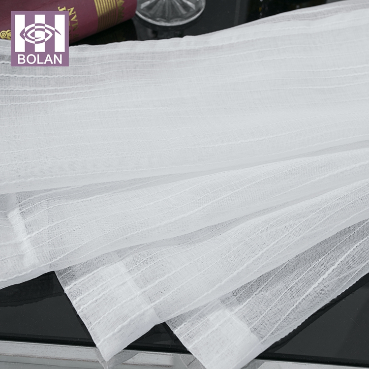 Wholesale high quality cheap 100 T poly white linen sheer ready made curtain
