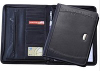 fashion design leather expandable file folder / customized conference folder / business zipper pu folder portfolio