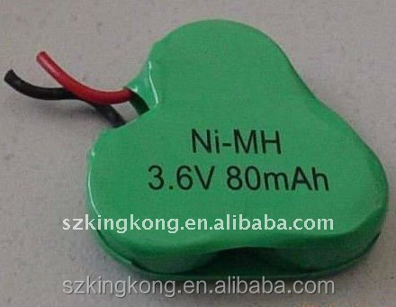 80mAh 3.6v NiMH button cell rechargeable battery pack