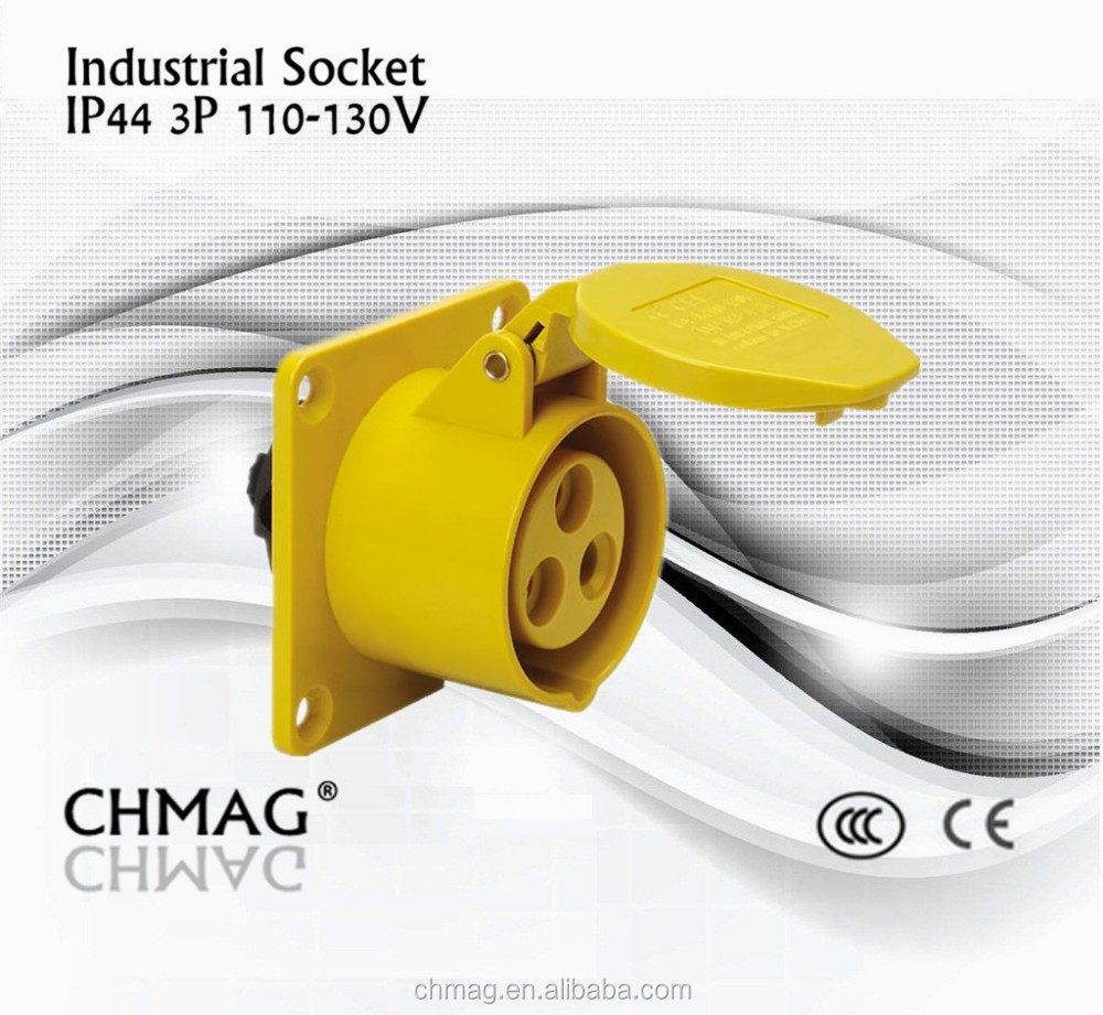 ieccee chmag 3pin 16a 4h 110v industrial pannel socket wall socket IP44