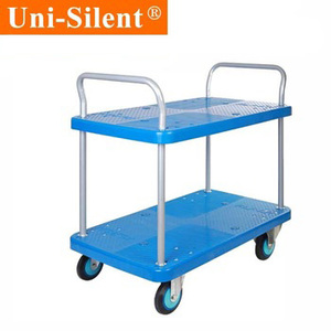 Uni-Silent capacity 250 kgs hand truck trailer dolly two platform with railing double layers trolley PLA250Y-T2-D