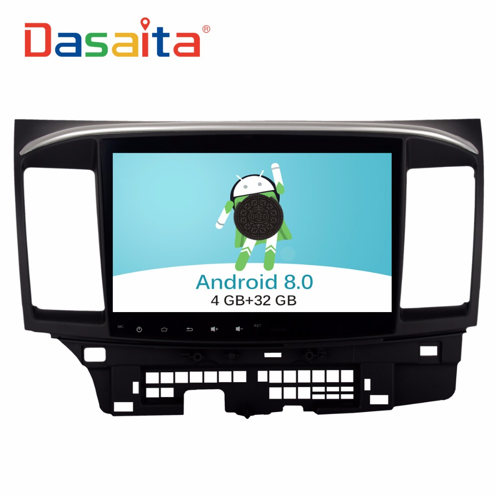 "DASAITA Android 8.0 10.2"" touch screen car radio auto dvd player with GPS navigation for mitsubishi lancer"