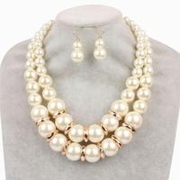 Fashion Imitation White pearl Jewelry Sets Ball Necklace Earrings Bracelet Jewelry Sets for women