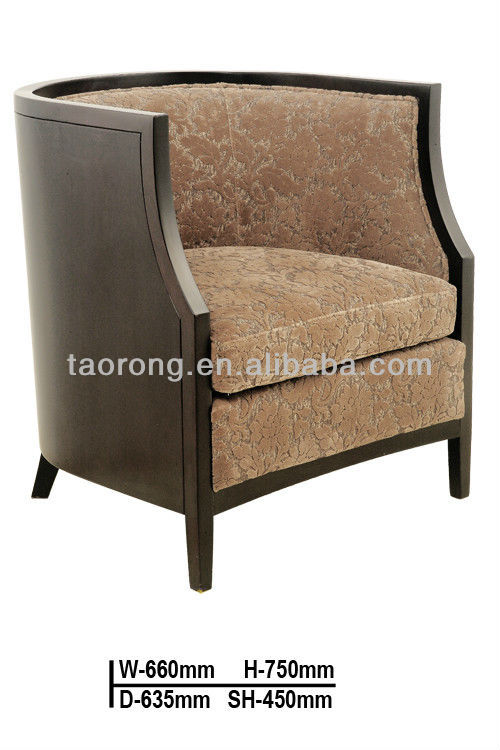 New design wood circle upholstered coffee lounge sofa chair TR819