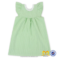 Woven Type 100% Cotton Material Baby Girl Dresses Baby Fancy Seersucker Flutter Sleeve Dress Fashion Stripes Baby Girl Dress