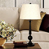 American style handmade drum white hardback lamp shade and Baked black paint table lamp