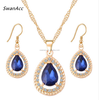 Gold Color Crystal Waterdrop Necklace Earrings