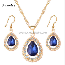 Gold Color Crystal Waterdrop Necklace Earrings Bridal Wedding Jewelry Set for Women