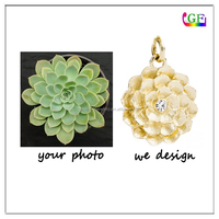 New design Gold tone crystal succulent botanical charm