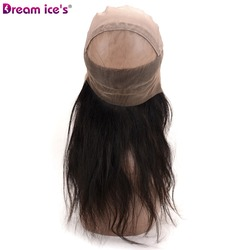 Dream.Ice's Hair Unprocessed Virgin Indian Remy Human Hair 360 Lace Frontal Wigs Cap,360 Lace Band Frontal Closure