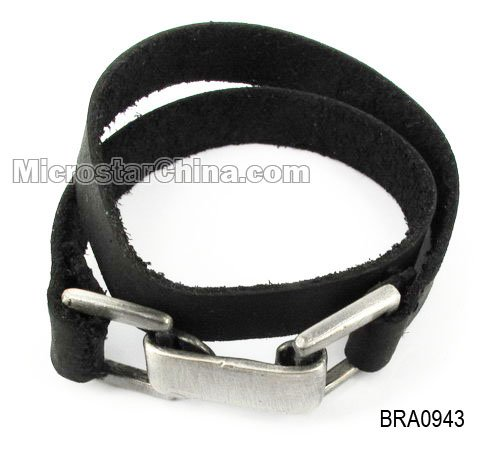 Real leather wristband