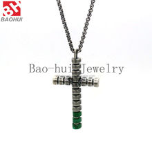 High Quality Men's Jewelry Silver Green Stainless Steel Bible Cross Pendant Necklace Chain items