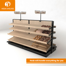 Good Quality Free Standing Multi-Layer Supermarket Commercial Solid Wood Bread Display <strong>Shelf</strong>