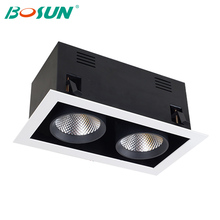 high quality cob downlight 360 degrees rotation dimmable 2x30w rectangle led grille lamp