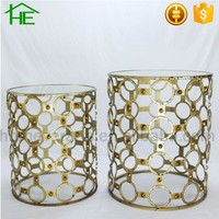set of 2 shabby chic gold ring design mirrored coffee table