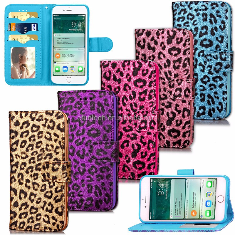 Fast delievery fashionable leopard print PU leather wallet flip phone case for iphone 7