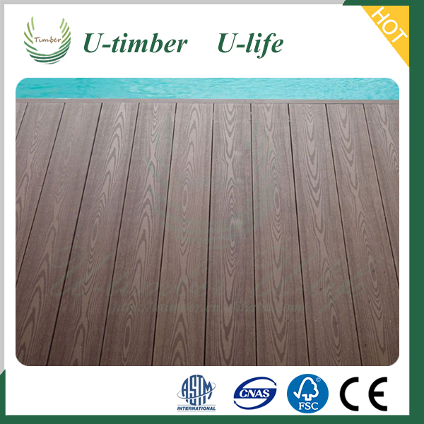 commercially 140*25mm wood plastic composite solid outdoor WPC decking