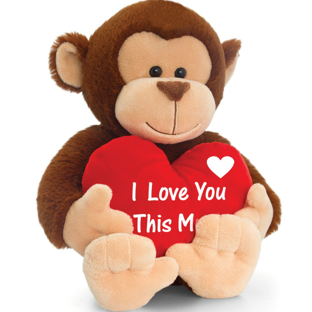 New design custom super soft valentine stuffed monkey toy