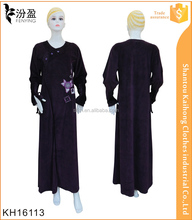 newest women jilbab design elegant abaya in winter with embroidery