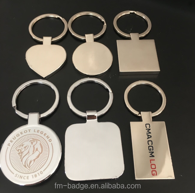 Promotional Metal Blank heart shape, rectangle, square Sublimation printing logo and engrave Keychain keyring