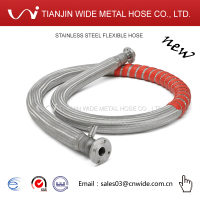 [Tianjin Wide Hose DQ-SP-F2 ] Stainless Steel double layer Vacuum Pipe Heat Preservation Hose with Spring Guard for Cold Liquid