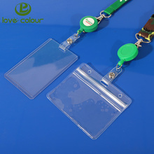 Custom soft PVC plastic transparent horizontal and vertical business id card holder