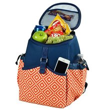 Orange Navy Diamond Collection Backpack Cooler for Outdoors Picnic Camping Traveling Working Beach