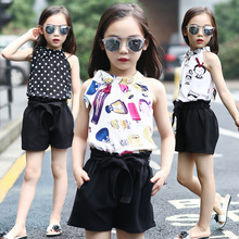 Korean style sweet girl fashion printed sleeveless tops and short sets children 2018 beautiful chiffon tank