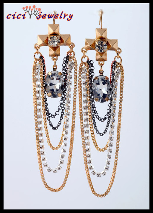 Fashion New Handmade Charming Teardrop Crystal Chain Costume Chandelier Earring