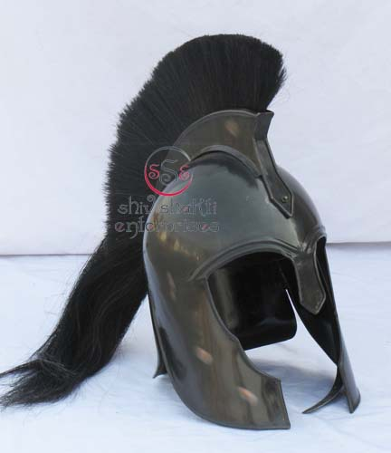 Troy Movies Helmet , Trojan Helmet With Black Plume