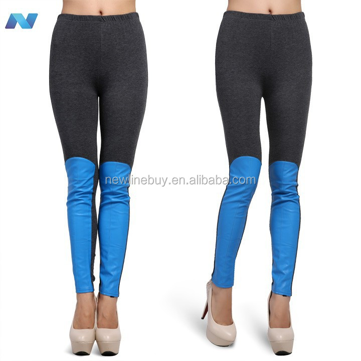 Korea New Women;s Sexy Faux Leather Splicing Tight Pants