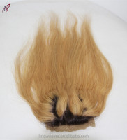 wholesale 100% Brazilian Human Hair4*4 silk base Lace Closure three Part brown 27/1B ombre color