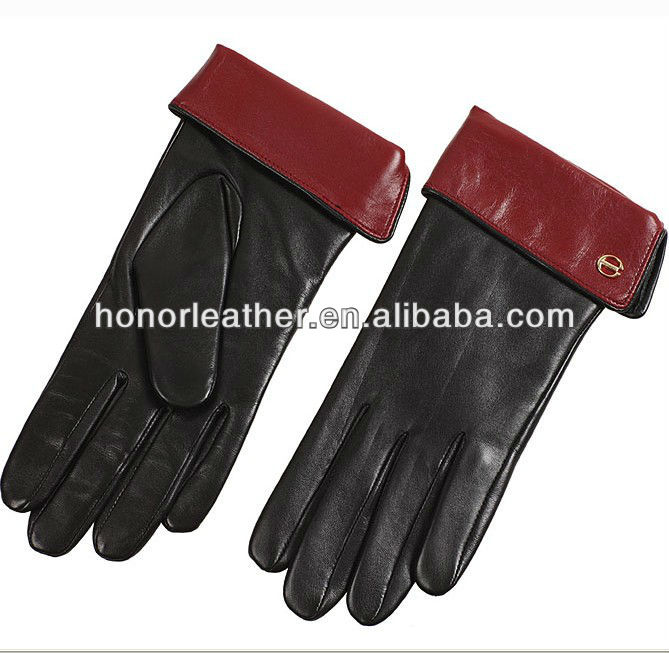 Lady's nappa leanther zipper gloves