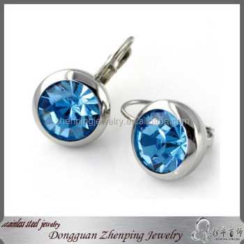 Fashion stainless steel earrings with blue stone