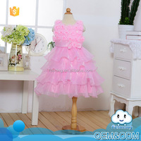 Baby clothes 2015 china supplier flower design lace wrinkle sleeveless long princess small girl evening baby girls dress designs