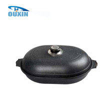 Black Oval Shaped Cast Iron Enamel Hiking/Kitchen/Restaurant Cookware Sets