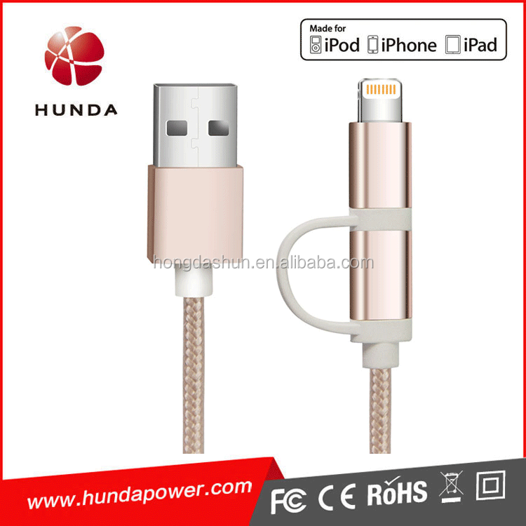 Phone 6 USB Data Cable 120CM Pink Nylon Braided MFI Charging Cable