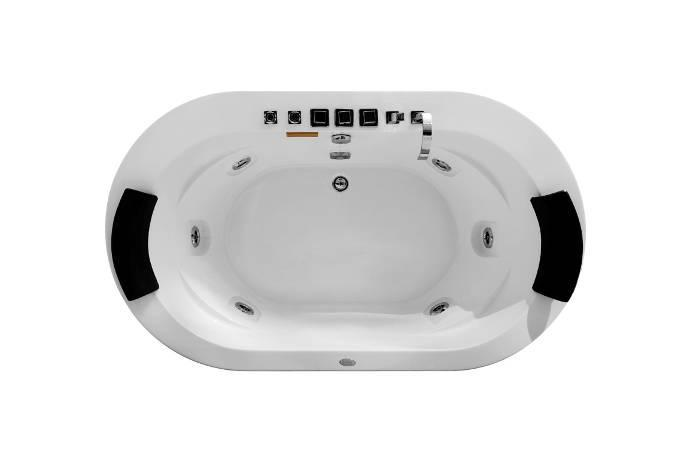 oval jetted tub M-2038A bathtub with pillow Massage water pump