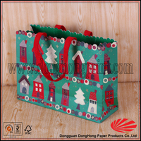 Funny Handmade Christmas Paper Bag For Gift With Cotton Handle