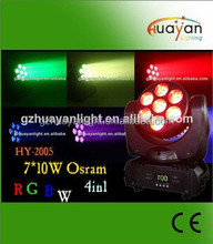 4-in-1 7x10w rgbw led 4in1 led wash BRAND led moving head led club and pub lighting