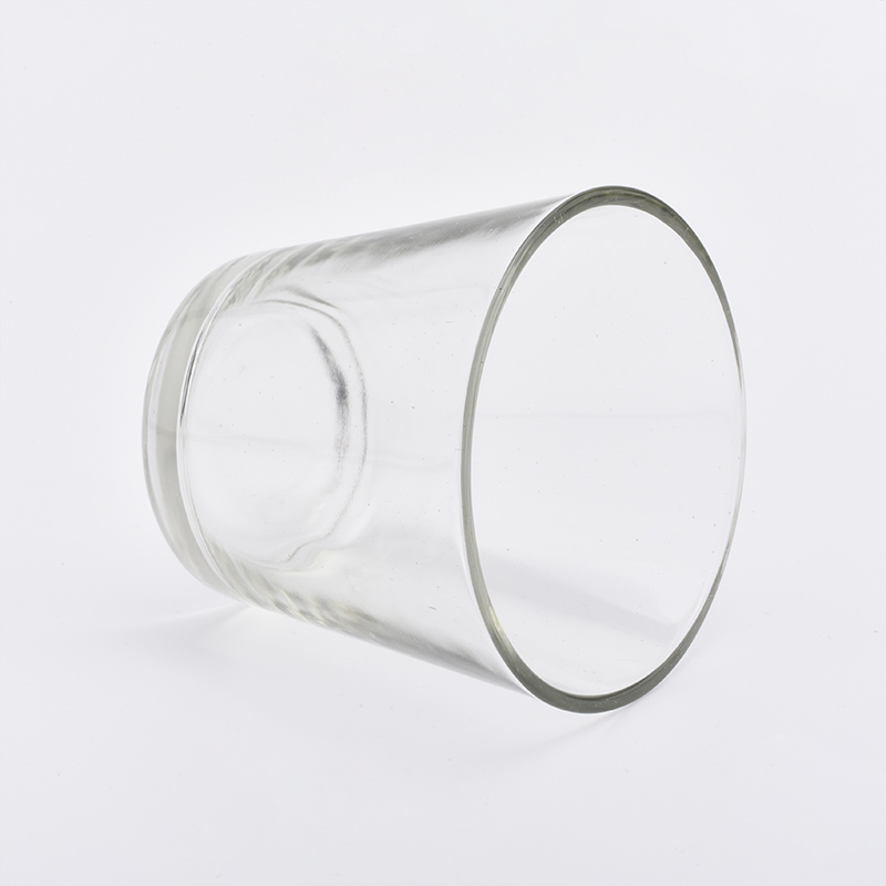 Transparent cone shaped glass candle jar