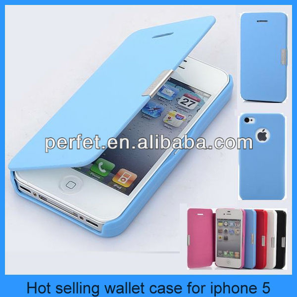 Wallet Leather Magnetic Hard phone Case Folio Pouch for iPhone 5 5G 5th, hot selling wallet case for iphone 5(PT-I5L201