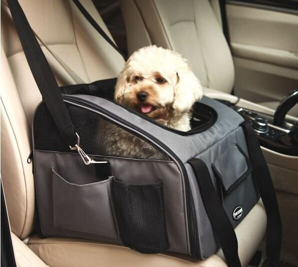Folding Pet Car Seat Carrier Travel Portable Bag for Dog Cat Multi-functional Pockets Pet Seat Carrier