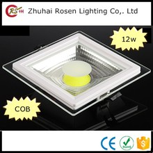 0.25w white led panel glass 110V 220V square 12w cob aluminium frame with glass panel