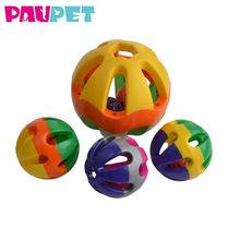 Funny with bell inside interactive hollow toys playing colorful plastic play ball cat toy