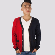 latest design autumn high quality red/black stitching V neck cardigan sweater knitted for mens with pockets