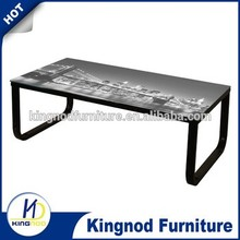 Chinese Modern Metal Home Goods Living Room Furniture Top Glass Computer Desk