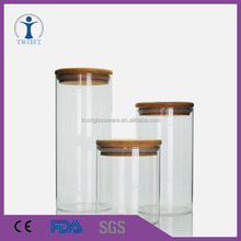 Cheap good quality glass food jar with bamboo lid