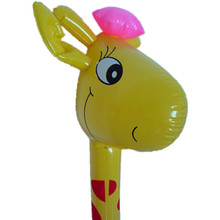 2017 new style animal head hiking inflatable giraffe stick toy for kids